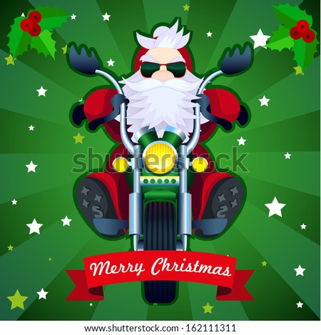 Merry Christmas card with biker Santa in vector - stock vector