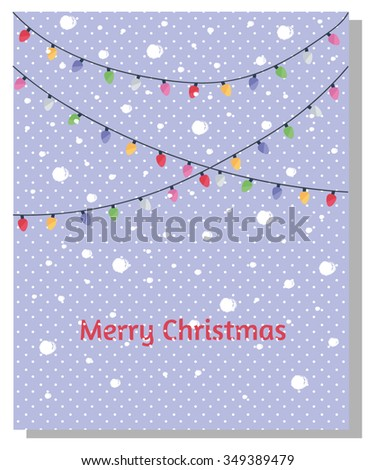 Merry Christmas Card with Christmas Lights and Snowflakes
