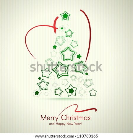 Merry Christmas Card With Christmas Tree. - stock vector