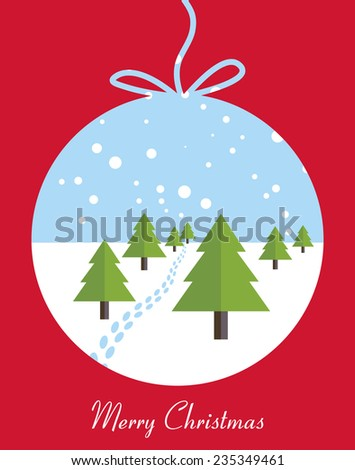 Merry Christmas card with Christmas trees, footprints and snowfall. Vector illustration. - stock vector