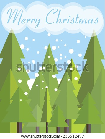 Merry Christmas card with Christmas trees. Landscape design. Vector illustration. - stock vector
