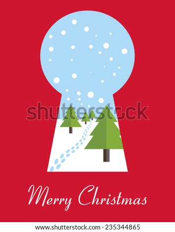 Merry Christmas card with Christmas trees through the keyhole. Vector illustration. - stock vector