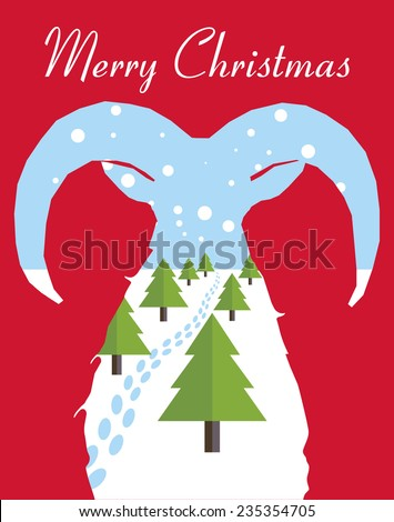 Merry Christmas card with Christmas trees through the mountain goat silhouette. Vector illustration. - stock vector