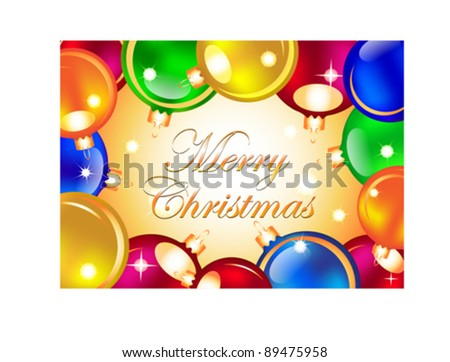 Merry Christmas card with colorful Christmas balls. Vector illustration
