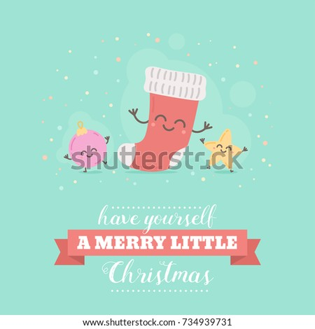 Merry christmas card cute cartoon character stock vector royalty merry christmas card with cute cartoon character decorative templates for invitations greeting postcards m4hsunfo