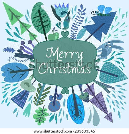 Merry christmas card with forest elements - bird, mushrooms, trees and flowers. Vector holiday background. Happy new year invitation card design - stock vector