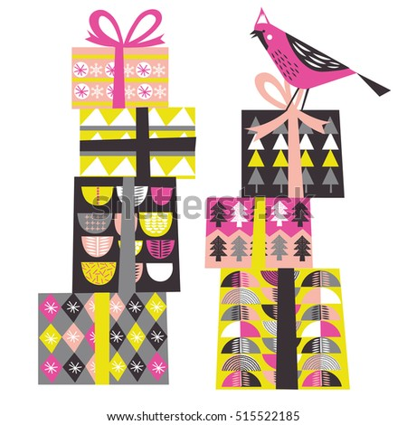 Merry Christmas card with gift boxes and bird