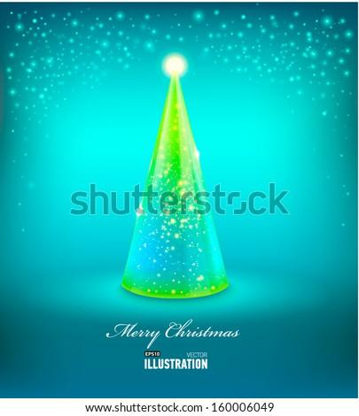 Merry Christmas Card with Glass Christmas tree. Vector illustration - stock vector