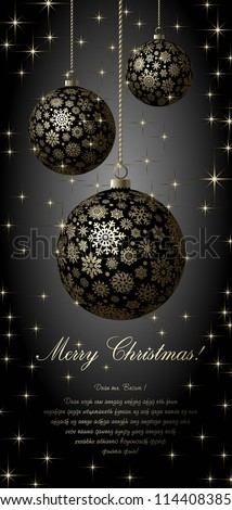 Merry Christmas card with golden balls on black background. - stock vector