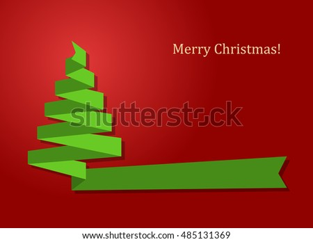 merry christmas card with green ribbon as xmas tree on red background vector illustration