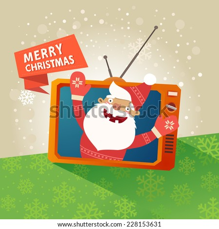 Merry christmas card with happy funny Santa Claus inside of tv set and red ribbon with Merry Christmas text. Vector colorful illustration in flat design style  - stock vector