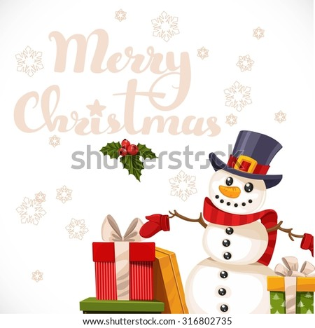 Merry Christmas card with lettering, snowman and gifts - stock vector
