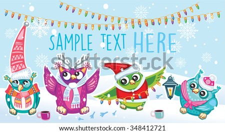 Merry Christmas card with Owls - stock vector