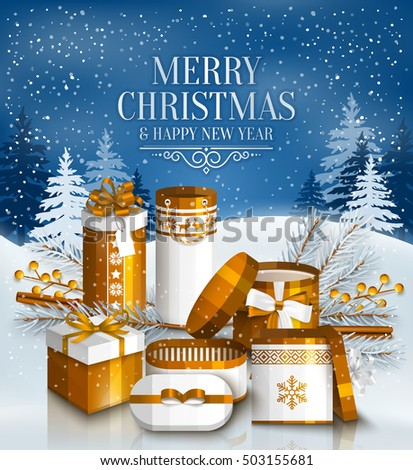 Merry Christmas card with pile of white and golden wrapped gift boxes, fir branches and yellow berries. Snowy landscape. Vector.