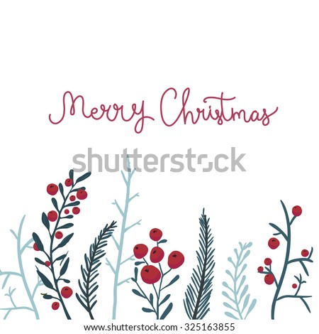 Merry Christmas card with red berries and branches. Vector winter background. - stock vector