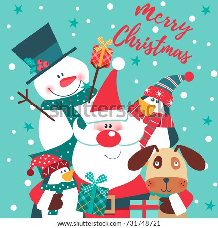 Merry Christmas card with Santa Claus, snowman, penguin and dog. Vector illustration.