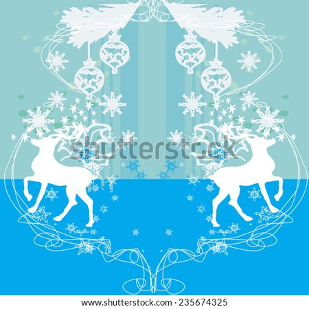 Merry Christmas card with snowflakes and reindeers
