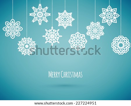 Merry christmas card with snowflakes, vector illustration - stock vector