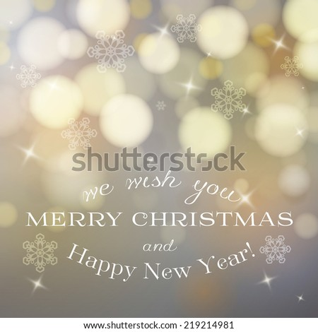 Merry Christmas card with stars and snowflakes,gold bokeh effect