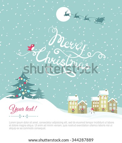Merry christmas card with your text space - Vector Illustration.Happy holiday card. Eps 8 file - stock vector