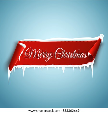 Merry Christmas celebration background with red realistic curved ribbon banner, icicles and snow. Vector illustration - stock vector