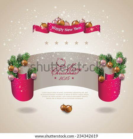 Merry Christmas celebration background with ribbon banner - stock vector