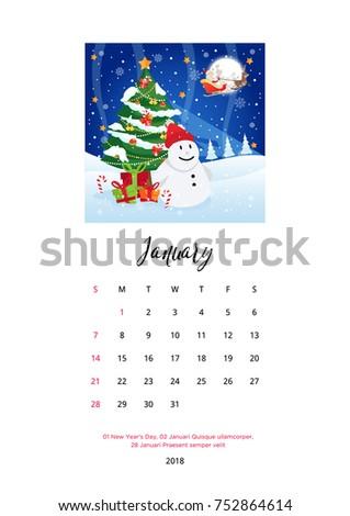 Merry Christmas Celebration 2018 Calendar Template Stock Vector