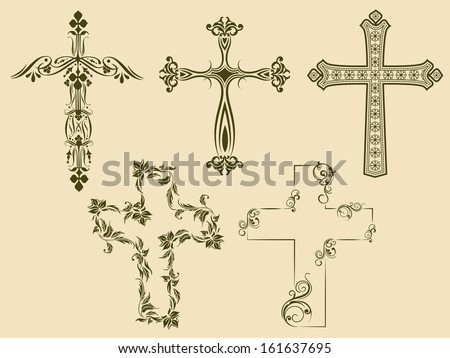 Merry Christmas celebration concept different styles of Christian Cross on abstract background.  - stock vector