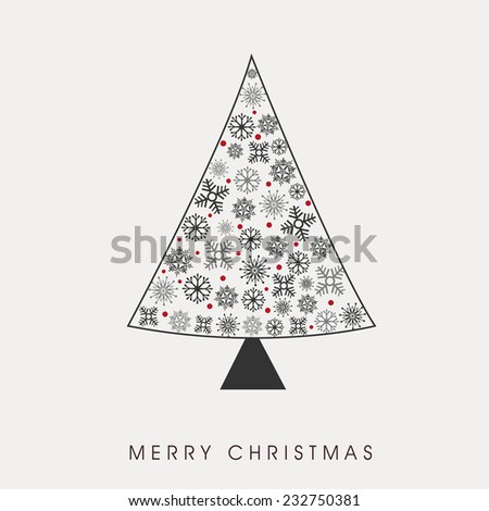 Merry Christmas celebration concept with beautiful snowflakes decorated X-mas tree on grey background. - stock vector