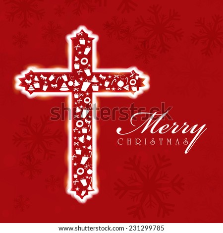 Merry Christmas celebration concept with Christian cross on snowflakes decorated red background. - stock vector
