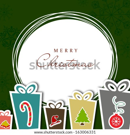 Merry Christmas celebration concept with colorful gift boxes and text space for your text on green background. - stock vector