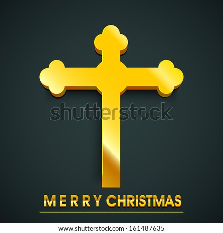 Merry Christmas celebration concept with golden Christian Cross on blue background. - stock vector