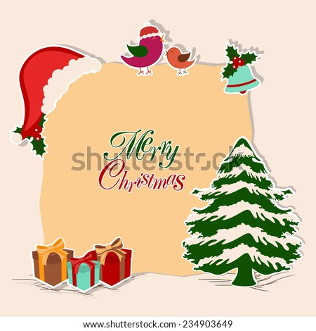 Merry Christmas celebration concept with stylish text on a frame decorated by x-mas tree, Santa cap, love bird, jingle bell and gifts. - stock vector