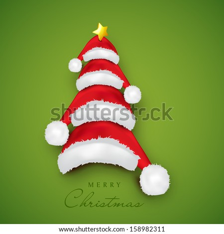 Merry Christmas celebration concept with Xmas tree made by Santa's cap on green background, can be use as flyer, banner or poster.  - stock vector