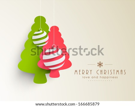 Merry Christmas celebration greeting card or invitation card with colorful stylish Xmas tree and Xmas balls on abstract background.  - stock vector