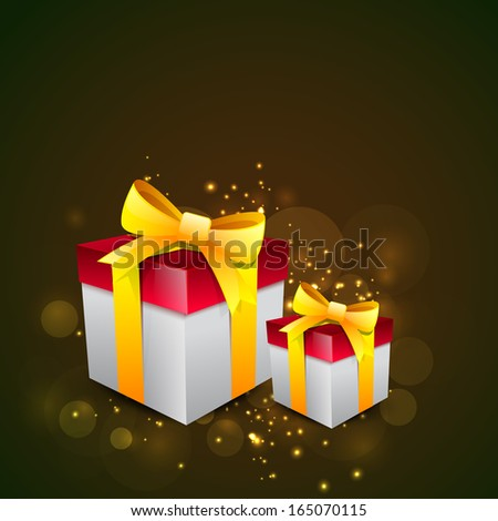 Merry Christmas celebration greeting card or invitation card with gift boxes wrapped in golden ribbon on abstract background.