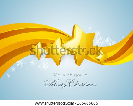 Merry Christmas celebration greeting card or invitation card with golden stars on wave background.  - stock vector