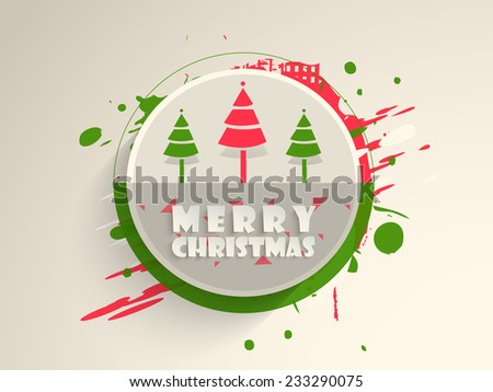 Merry Christmas celebration sticky decorated with colorful X-mas tree on abstract background. - stock vector