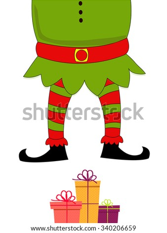Merry Christmas celebration with illustration of Santa Claus Body and colorful gifts on shiny white background. - stock vector