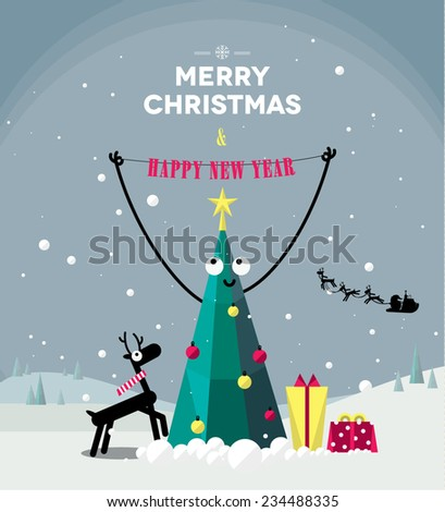 Merry Christmas celebrations, Santa Claus in a sleigh - stock vector
