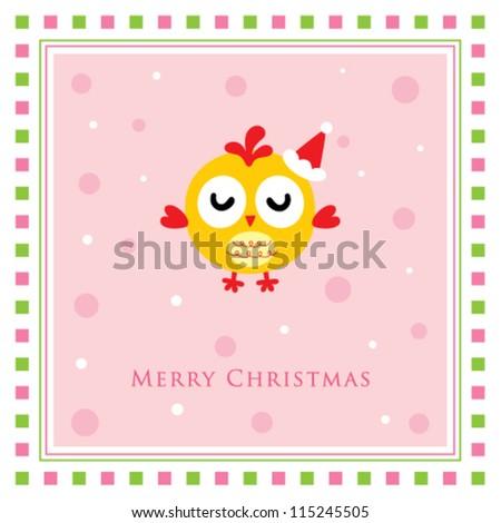 merry christmas chicken doodle tag - stock vector