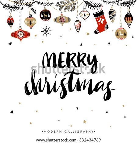 Merry Christmas. Christmas calligraphy. Handwritten modern brush lettering. Hand drawn design elements. - stock vector