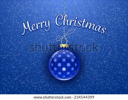 Merry Christmas. Christmas card. Christmas bauble on blue background with snowflakes - stock vector