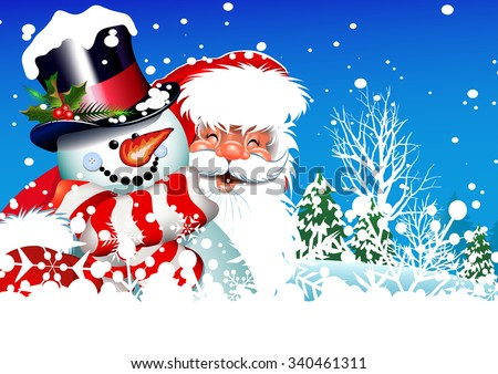 Merry christmas, Christmas card, Christmas decorations, Santa Claus, Snowman, Winter background, Happy New Year, Christmas day, Christmas season, vector image  - stock vector