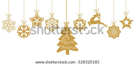 Merry Christmas. Christmas elements hanging line gold isolated background. - stock vector