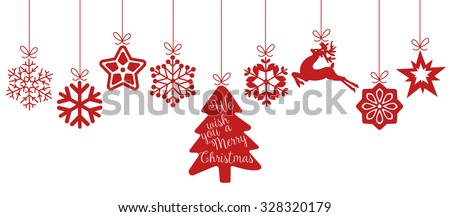 Merry Christmas. Christmas elements hanging line red isolated background. - stock vector