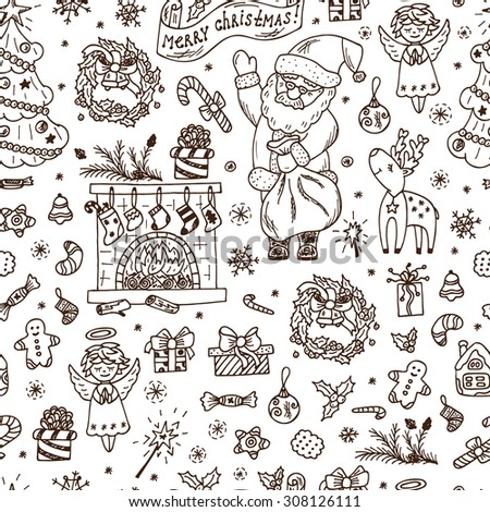 Merry Christmas. Christmas seamless pattern. Holiday background. Endless texture. Hand Drawn Doodles illustration. - stock vector