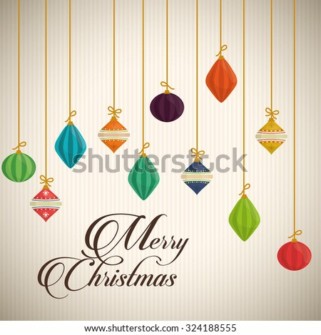 Merry christmas colorful card design, vector illustration.