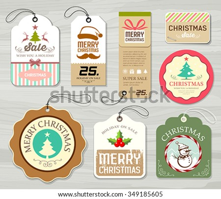Merry christmas colorful label paper collections design on gray wood background vector illustration - stock vector