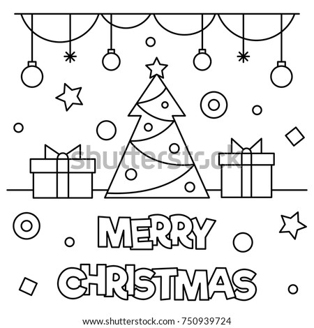 merry christmas coloring page black white stock vector 750939724